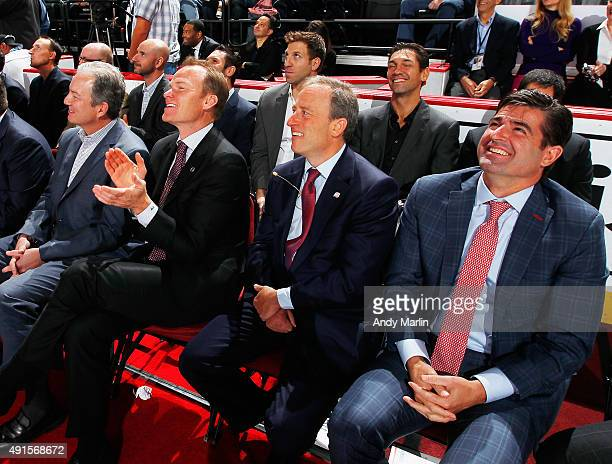 New Jersey Devils GM Ray Shero President Hugh Weber CoOwner Josh Harris and CEO Scott O'Neil attend during the New Jersey Devils announcment to...