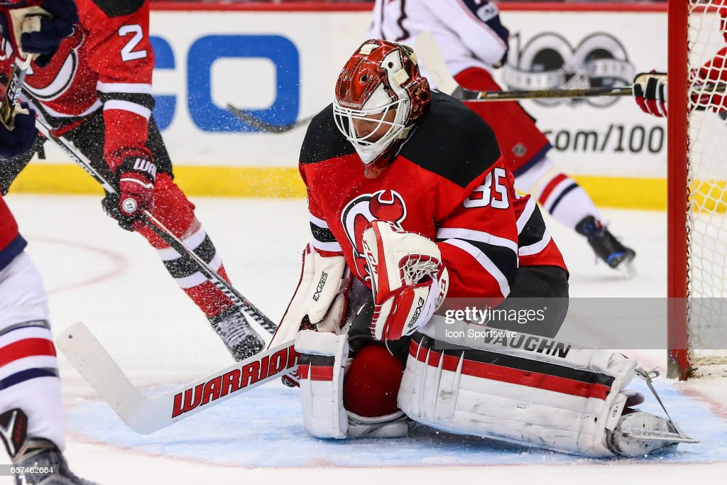 New Jersey Devils goalie Cory Schneider (35) during the third period of the National Hockey League game between the New Jersey Devils and the Columbus Blue Jackets on March 19, 2017, at the Prudential Center in Newark,NJ.