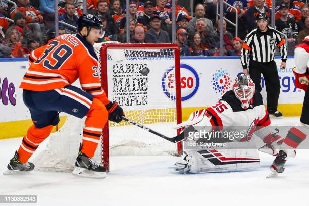 New Jersey Devils Goalie Cory Schneider makes a great save on Edmonton Oilers Right Wing Alex Chiasson to keep the game tied in the first period...