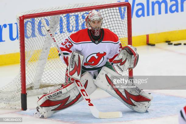 New Jersey Devils goaltender Cameron Johnson during warm ups the National Hockey League game between the New Jersey Devils and the Toronto Maple...