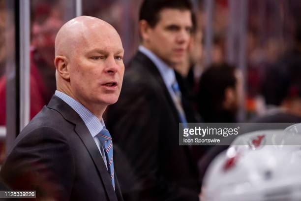 New Jersey Devils head coach John Hynes looks on during a game between the New Jersey Devils and the Chicago Blackhawks on February 14 at the United...