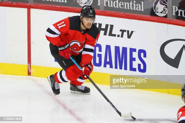 New Jersey Devils left wing Andreas Johnsson skates during the National Hockey League game between the New Jersey Devils and the Boston Bruins on...