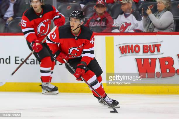 New Jersey Devils left wing Brett Seney skates during the National Hockey League game between the New Jersey Devils and the Tampa Bay Lightning on...