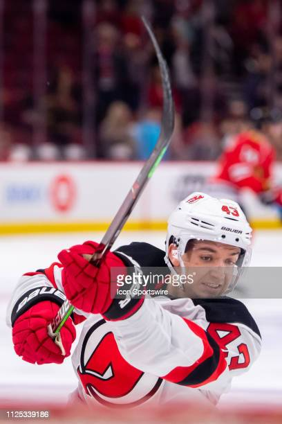 New Jersey Devils left wing Brett Seney warms up prior to a game against the Chicago Blackhawks on February 14 at the United Center in Chicago IL