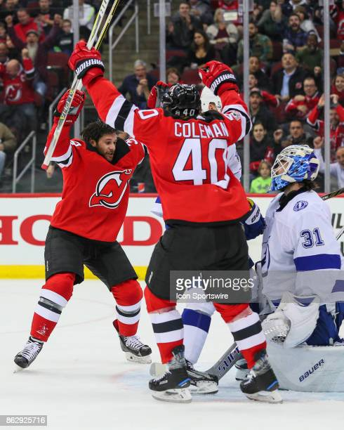 New Jersey Devils left wing Brian Gibbons celebrates after scoring during  the National Hockey League game b303d2c26
