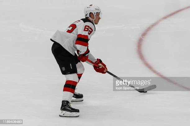New Jersey Devils left wing Jesper Bratt warms up before the NHL hockey game between the New Jersey Devils and the Arizona Coyotes on December 14,...