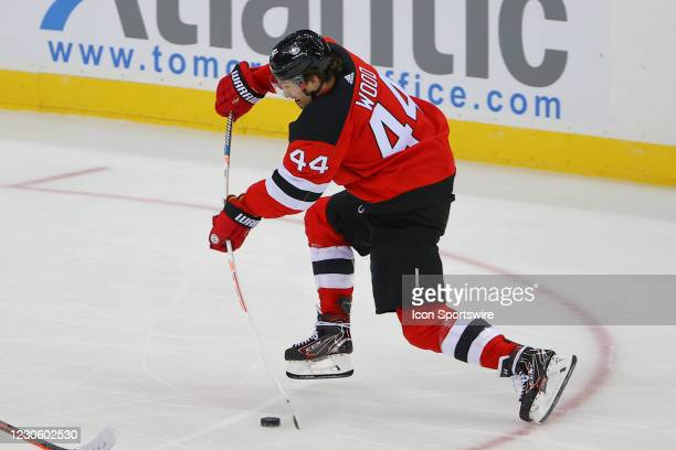 New Jersey Devils left wing Miles Wood shoots during the National Hockey League game between the New Jersey Devils and the Boston Bruins on January...