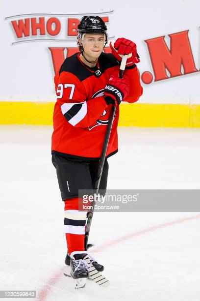 New Jersey Devils left wing Nikita Gusev during warm up prior to the National Hockey League game between the New Jersey Devils and the Boston Bruins...