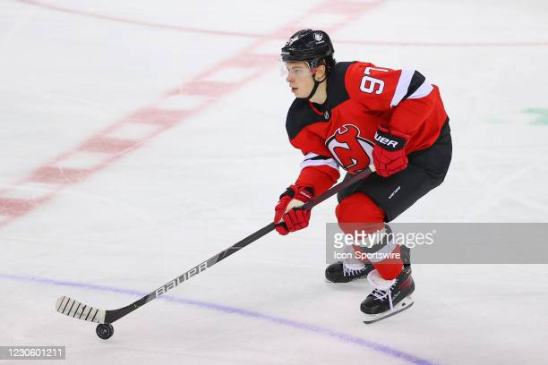 New Jersey Devils left wing Nikita Gusev skates during the National Hockey League game between the New Jersey Devils and the Boston Bruins on January...