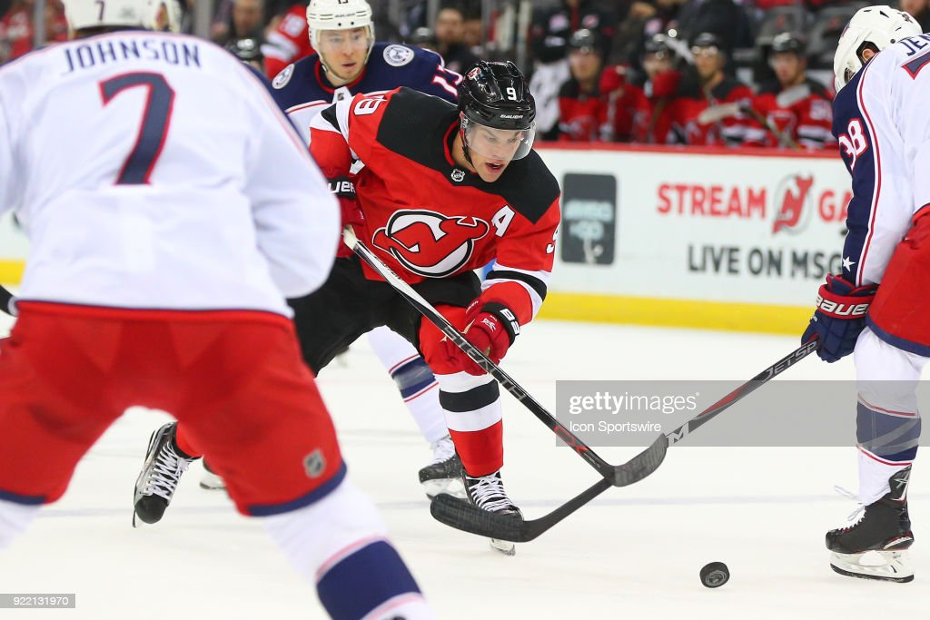 New Jersey Devils left wing Taylor Hall (9) skates during the first period of the National Hockey League game between the New Jersey Devils and the Columbus Blue Jackets on February 20, 2018, at the Prudential Center in Newark, NJ.