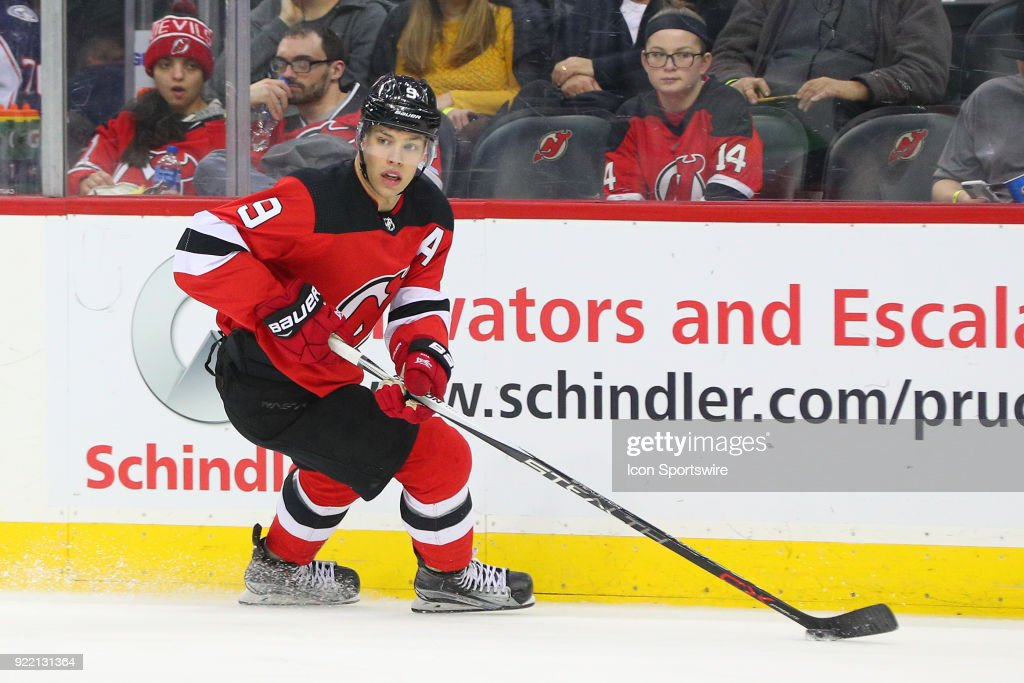 New Jersey Devils left wing Taylor Hall (9) skates during the second period of the National Hockey League game between the New Jersey Devils and the Columbus Blue Jackets on February 20, 2018, at the Prudential Center in Newark, NJ.
