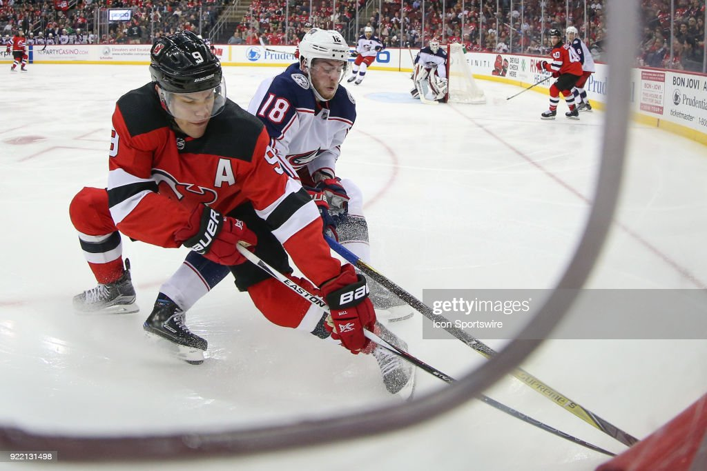 New Jersey Devils left wing Taylor Hall (9) skates during the third period of the National Hockey League game between the New Jersey Devils and the Columbus Blue Jackets on February 20, 2018, at the Prudential Center in Newark, NJ.