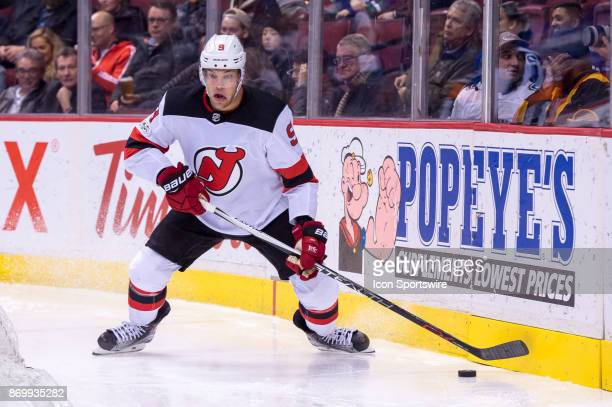 New Jersey Devils Left Wing Taylor Hall skates with the puck during their NHL game against the Vancouver Canucks at Rogers Arena on November 1 2017...