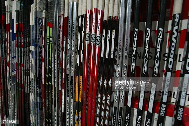 New Jersey Devils players sticks are shown during the game against the Buffalo Sabres on December 12 2006 at Continental Airlines Arena in East...