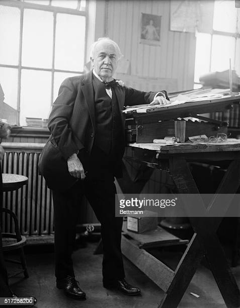 """New Jersey: Edison Spends Part Of 74th Birthday In His Laboratory. Thomas A. Edison, the """"Electrical Wizard"""" photographed in his laboratory at..."""