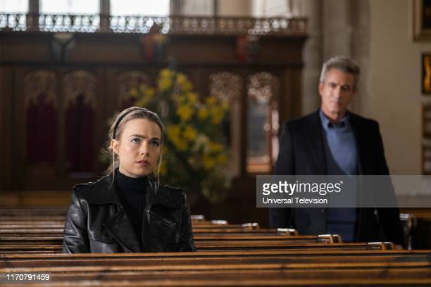 FUNERAL New Jersey Episode 110 Pictured Rebecca Rittenhouse as Ainsley Dermot Mulroney as Bryce
