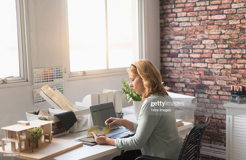 Usa New Jersey Female Interior Designer At Work Stock Photo Getty