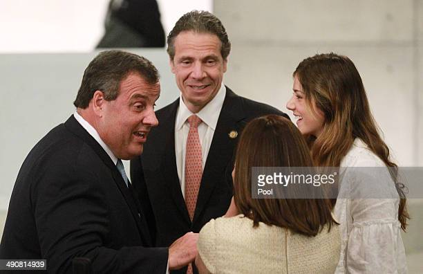 New Jersey Gov Chris Christie and first lady Mary Pat Christie talk with New York Gov Andrew Cuomo and his daughter Michaela Cuomo before the...