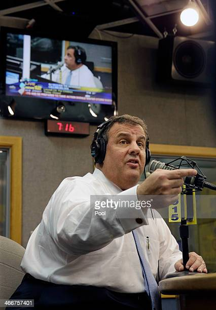 """New Jersey Gov. Chris Christie answers questions during his radio program """"Ask the Governor"""" on February 3 in Ewing, New Jersey. During the program,..."""