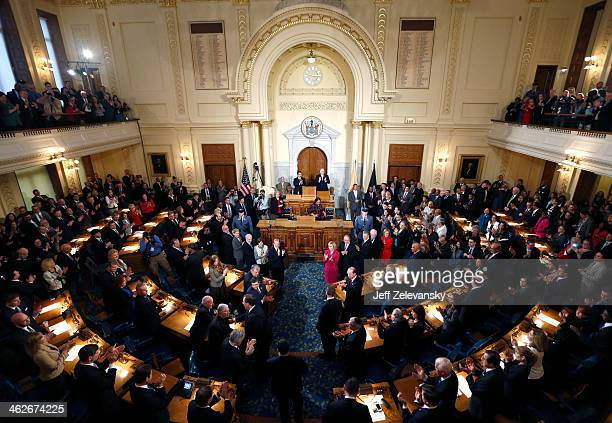 New Jersey Gov Chris Christie arrives to deliver the State of the State Address in the Assembly Chambers at the Statehouse on January 14 2014 in...