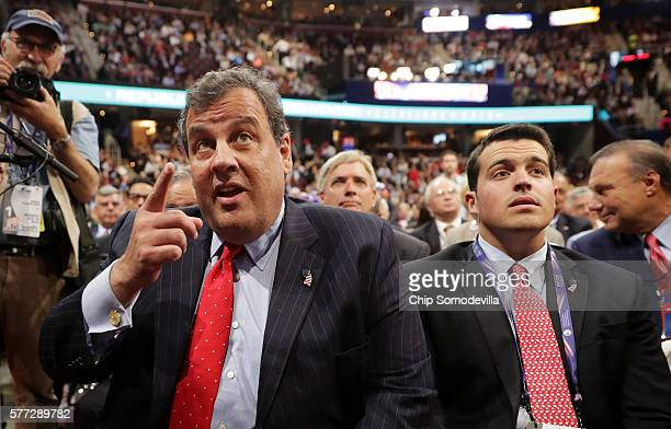 New Jersey Gov Chris Christie attends the first day of the Republican National Convention along with his son Andrew Christie on July 18 2016 at the...