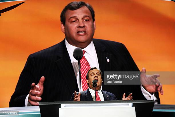 New Jersey Gov Chris Christie delivers a speech on the second day of the Republican National Convention on July 19 2016 at the Quicken Loans Arena in...
