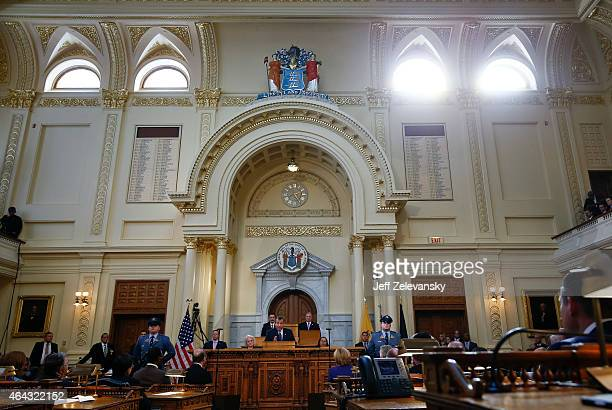 New Jersey Gov Chris Christie delivers his budget address for fiscal year 2016 to the Legislature February 24 2015 at the Statehouse in Trenton New...