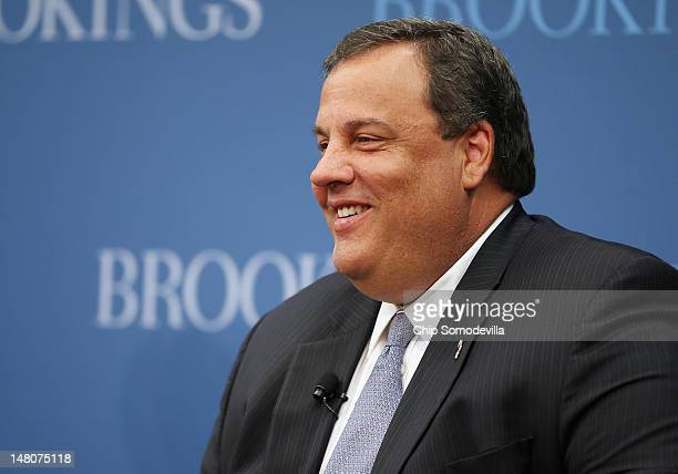 New Jersey Gov Chris Christie delivers remarks and answers questions at the Brookings Institution a nonpartisan public policy think tank July 9 2012...