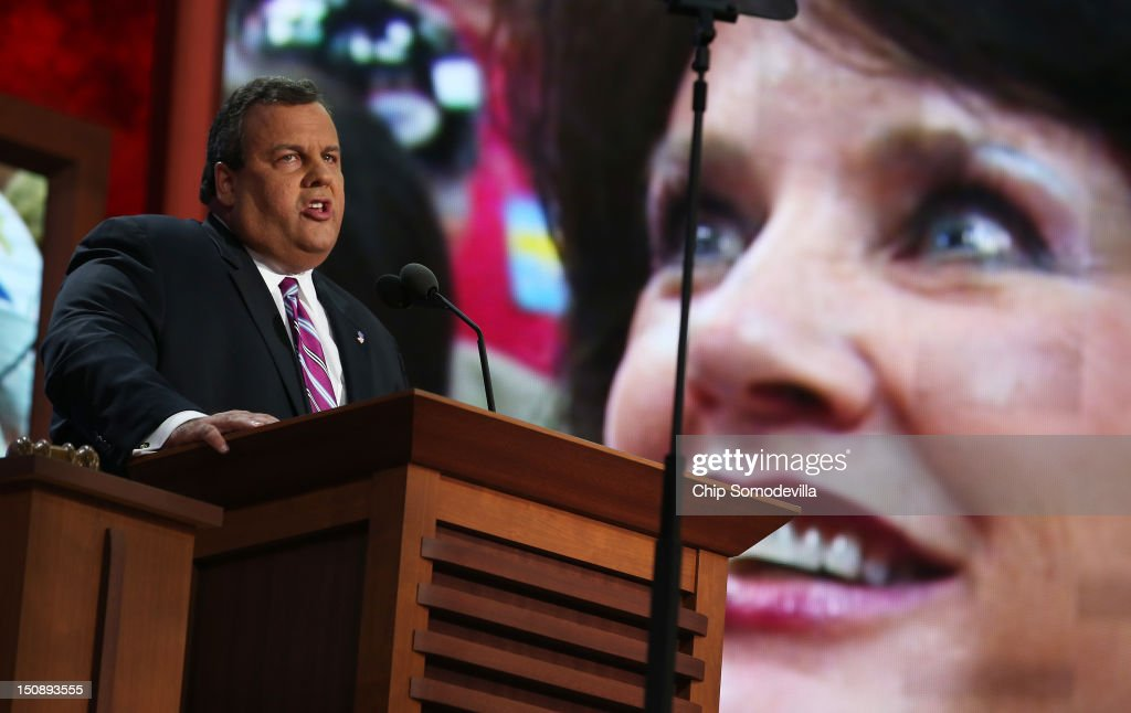 New Jersey Gov. Chris Christie delivers the keynote address during the Republican National Convention at the Tampa Bay Times Forum on August 28, 2012 in Tampa, Florida. Today is the first full session of the RNC after the start was delayed due to Tropical Storm Isaac.