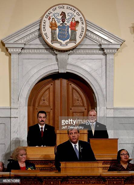 New Jersey Gov Chris Christie delivers the State of the State Address in the Assembly Chambers at the Statehouse on January 14 2014 in Trenton New...