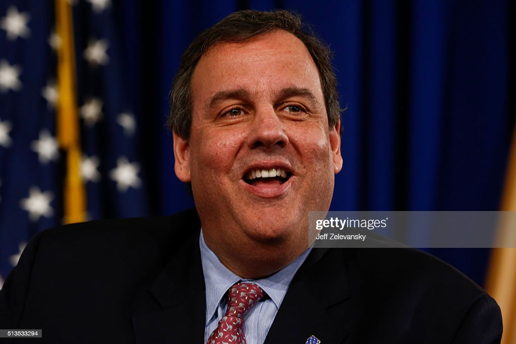 New Jersey Gov. Chris Christie fields questions at a wide-ranging news conference, March 3, 2016 at the Statehouse in Trenton, New Jersey. Christie defended his endorsement of Donald Trump for president amid calls for him to resign.