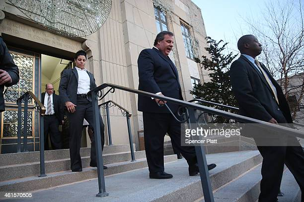 New Jersey Gov Chris Christie leaves the Borough Hall in Fort Lee where he apologized to Mayor Mayor Mark Sokolich on January 9 2014 in Fort Lee New...