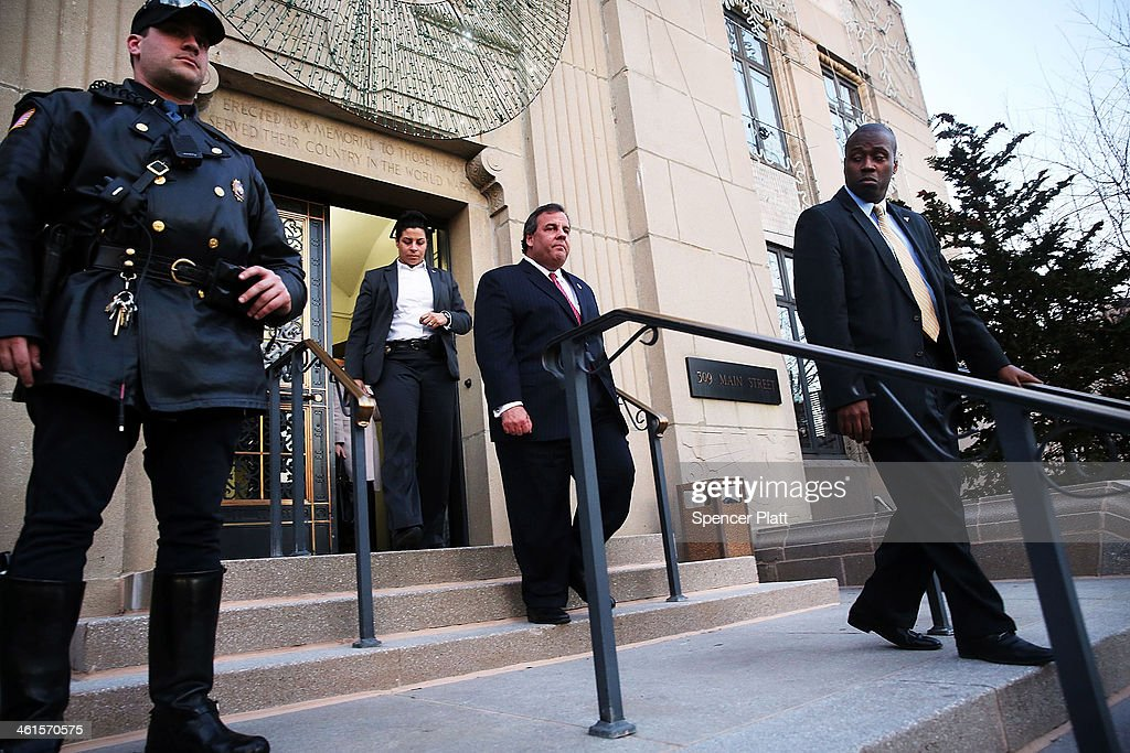 New Jersey Gov. Chris Christie leaves the Borough Hall in Fort Lee where he apologized to Mayor Mark Sokolich on January 9, 2014 in Fort Lee, New Jersey. According to reports Christie's Deputy Chief of Staff Bridget Anne Kelly is accused of giving a signal to the Port Authority of New York and New Jersey to close lanes on the George Washington Bridge, allegedly as punishment for the Fort Lee, New Jersey mayor not endorsing the Governor during the election.