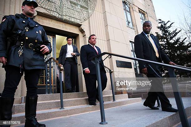 New Jersey Gov Chris Christie leaves the Borough Hall in Fort Lee where he apologized to Mayor Mark Sokolich on January 9 2014 in Fort Lee New Jersey...