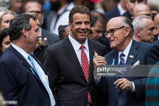 New Jersey Gov Chris Christie New York Gov Andrew Cuomo and former New York City Mayor Rudy Giuliani attend the anniversary ceremony commemorating...