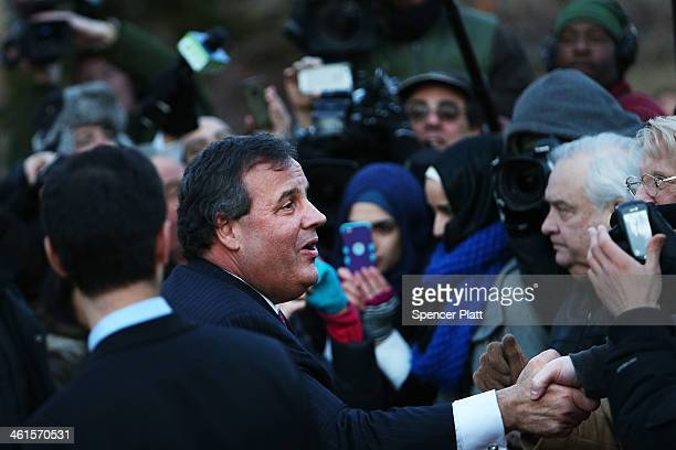 New Jersey Gov Chris Christie shakes hands with residents after leaving the Borough Hall in Fort Lee where he apologized to Mayor Mayor Mark Sokolich...