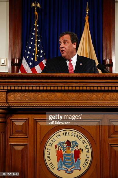 New Jersey Gov Chris Christie speaks about his knowledge of a traffic study that snarled traffic at the George Washington Bridge during a news...