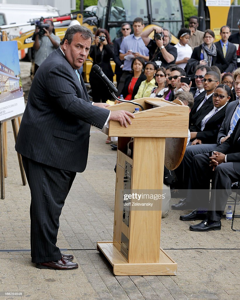New Jersey Gov. Chris Christie speaks at a groundbreaking ceremony at Essex County Community College on May 7, 2013 in Newark, New Jersey. Christie recently disclosed that he underwent a surgical procedure for weight loss in February 2013.