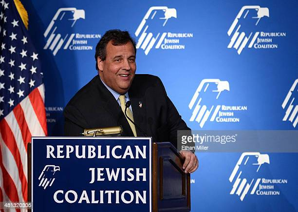 New Jersey Gov. Chris Christie speaks during the Republican Jewish Coalition spring leadership meeting at The Venetian Las Vegas on March 29, 2014 in...