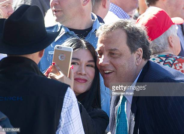 New Jersey Gov. Chris Christie takes a selfie with supporters of Republican Presidential candidate Donald Trump after a campaign rally at Northwest...