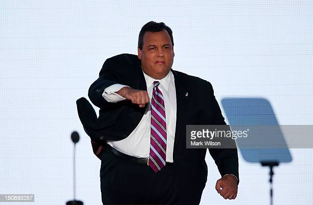 New Jersey Gov Chris Christie takes the stage to deliver the keynote address during the Republican National Convention at the Tampa Bay Times Forum...