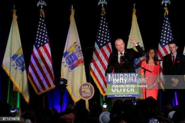 New Jersey Govelect Phil Murphy celebrates at an election night rally on November 7 2017 in Asbury Park New Jersey Murphy was projected an early...