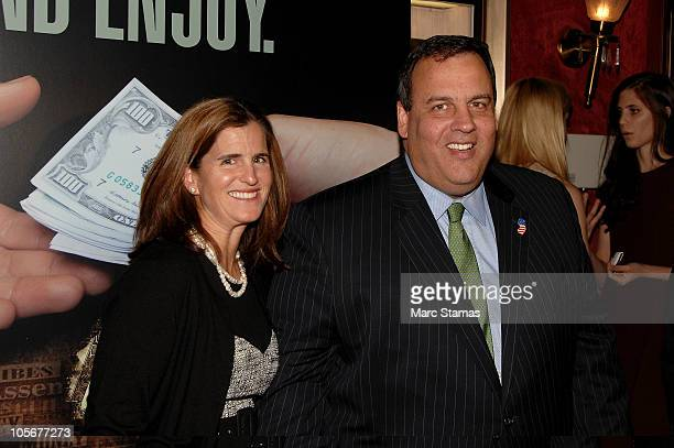 New Jersey Governor Chris Christie and his wife Mary Pat Christie attend the premiere of The Soprano State at the Ziegfeld Theatre on October 18 2010...