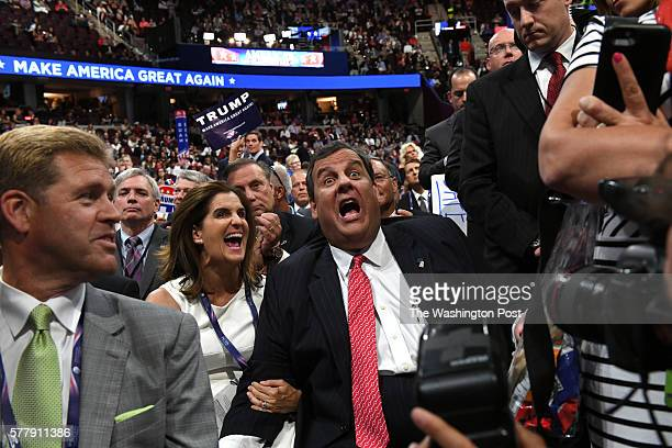 New Jersey Governor Chris Christie and his wife Mary Pat Christie react during Donald Trump Jr's speech on the second day of the Republican National...
