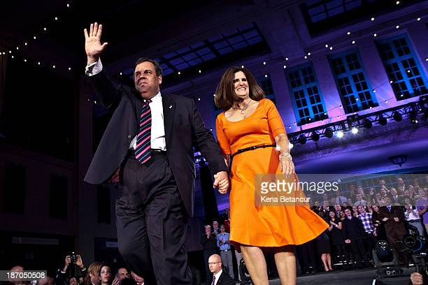 New Jersey Governor Chris Christie and his wife Mary Pat Christie arrive to his election night event after winning a second term at the Asbury Park...