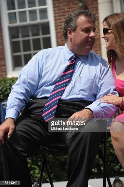 New Jersey Governor Chris Christie and wife Mary Pat Foster attend the Hurricane Sandy New Jersey Relief Fund Press Conference at Sayreville Borough...