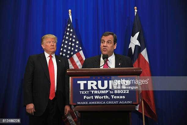 New Jersey Governor Chris Christie announces his support for Republican presidential candidate Donald Trump during a campaign rally at the Fort Worth...