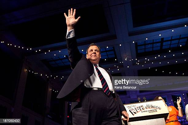 New Jersey Governor Chris Christie arrives to speak at his election night event after winning a second term at the Asbury Park Convention Hall on...