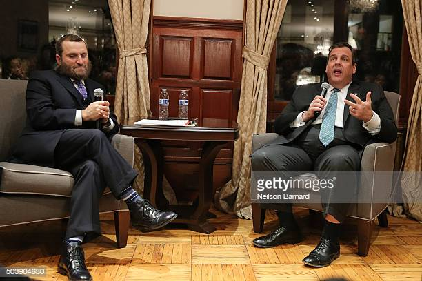 New Jersey Governor Chris Christie chats with Rabbi Shmuley over foreign policy Israel American values and the Middle East at a Private Residence on...