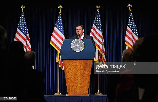 New Jersey Governor Chris Christie delivers remarks during the Perspectives on Leadership Forum at the Reagan Library on September 27 2011 in Simi...